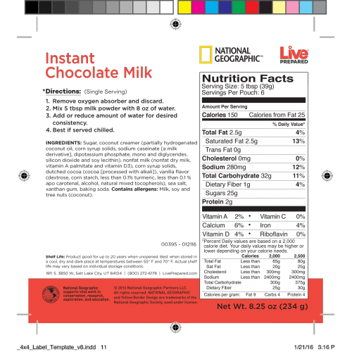 Label Product Instant Chocolate Milk - 4x4 label template